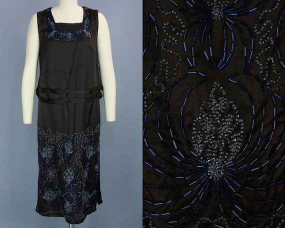 1920s BEADED SPIDER Dress | Vintage 20s Black Silk
