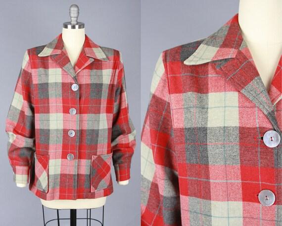 1950s 49ER JACKET | Vintage 40s 50s Grey & Red Pla