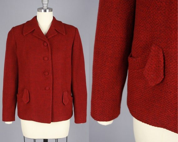 1950s Red Textured Jacket | Vintage 50s Cropped Wo