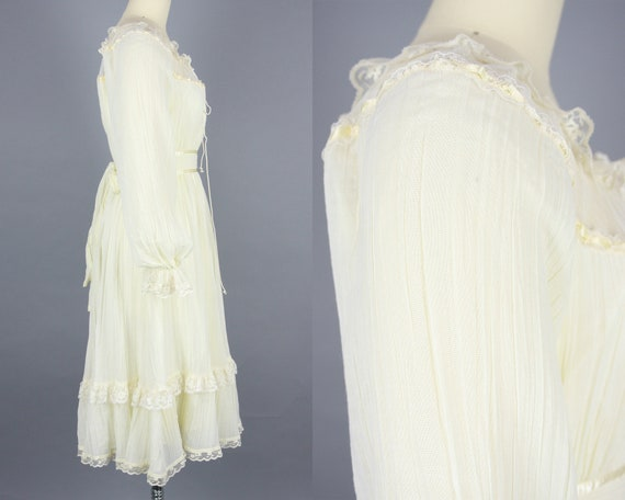 1970s GUNNE SAX Dress | Vintage 70s Ivory Cotton … - image 3