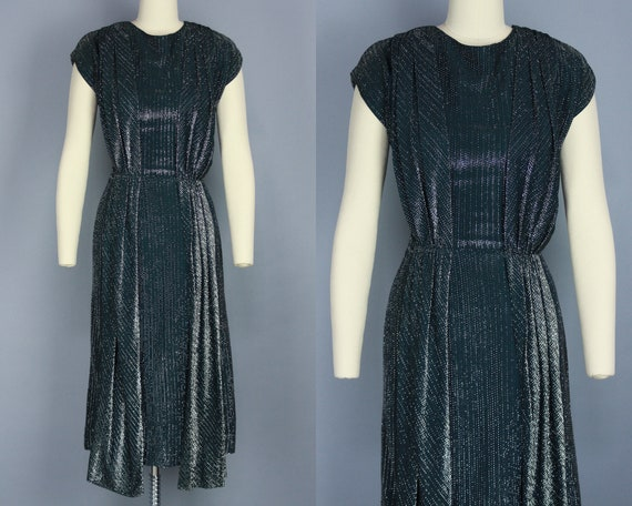1960s LUREX Dress   Vintage 50s 60s Black & Silver