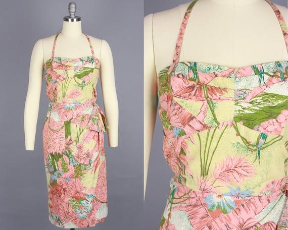 1950s TROPICAL BIRD Dress | Vintage 40s 50s Sarong