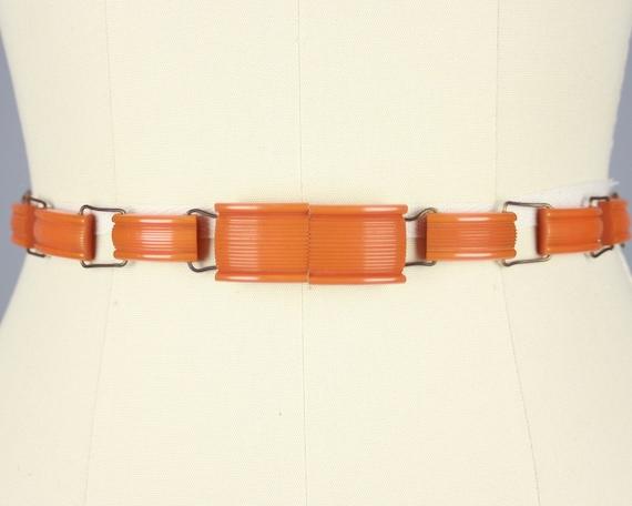 1930s BAKELITE Belt | Vintage 30s Deep Orange Carv
