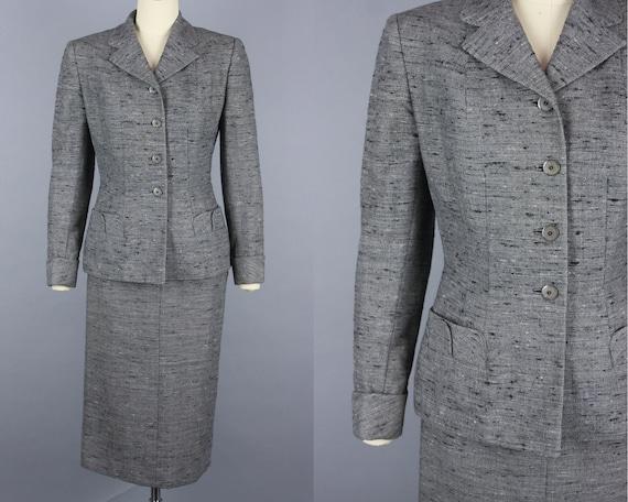 1950s Flecked SKIRT SUIT | Vintage 50s Grey Wool T