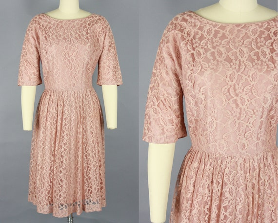 1950s LACE DRESS | Vintage 50s Blush Short Sleeve