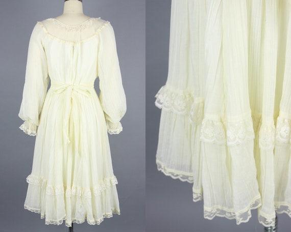 1970s GUNNE SAX Dress | Vintage 70s Ivory Cotton … - image 4