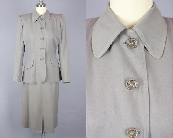 1940s Grey GABARDINE Suit   Vintage 40s Skirt Suit