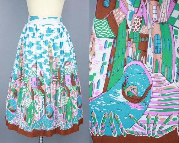 1950s VENICE Novelty Print Skirt | Vintage 50s Col