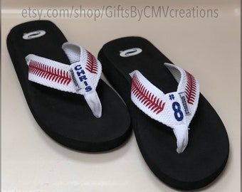 a547361b917 PERSONALIZED BASEBALL flip flops   sandals FREE Personalization - womens baseball  sandals - baseball mom Baseball glitter sandals flip-flops