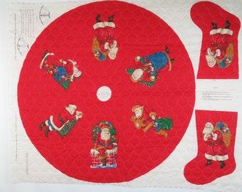 Cranston Leslie Beck Snowman Santa Christmas Set of 2 Pillow Fabric 4 Panels