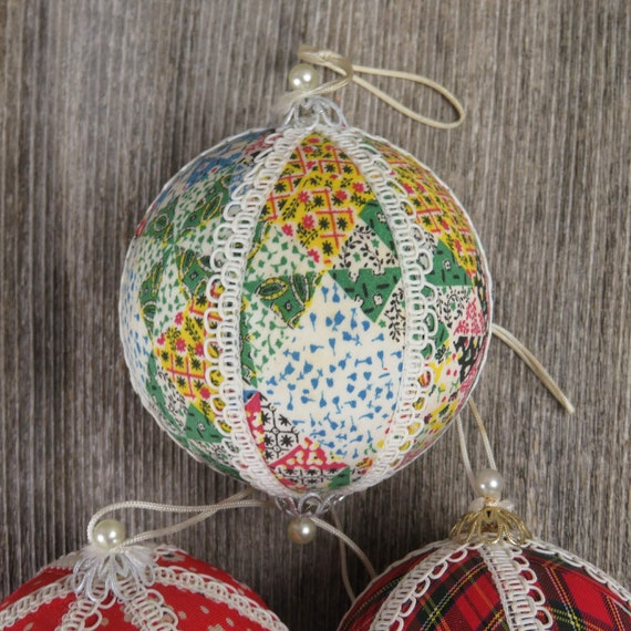 Vintage Ball Christmas Ornament Fabric Beads Lace Ribbon Floral Flowers Plaid Calico Foam
