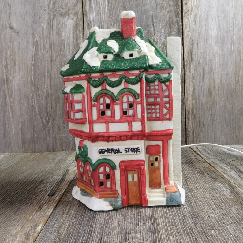 How To Store Christmas Village Houses.Vintage Lighted Corner Store Christmas Village Square Mervyn S Grocery Market Holiday Decorations Winter Scene Mini Houses And Buildings