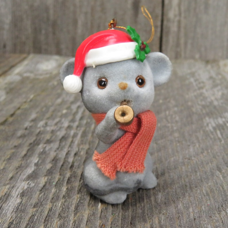 Vintage Flocked Mouse With Horn Christmas Red White Holly Scarf Santa Hat