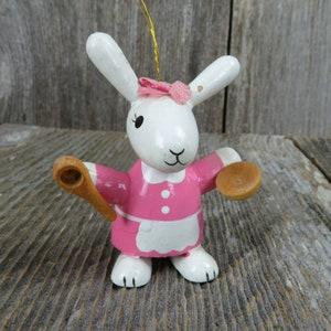 Vintage Bunny Rabbit Baby Christmas Ornament Walnut Bed Kilnfolk Ceramic Oregon Figurine Figure