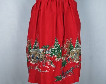 Vintage Christmas Half Hostess Apron, Red Log Cabin Frontier Country Rustic Trees Apron, Womens Half Hostess Apron, A15