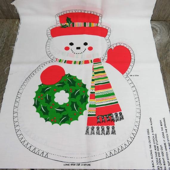 Snowman Fabric Panel Cut Sew Stuffed Animal Decoration Toy Etsy