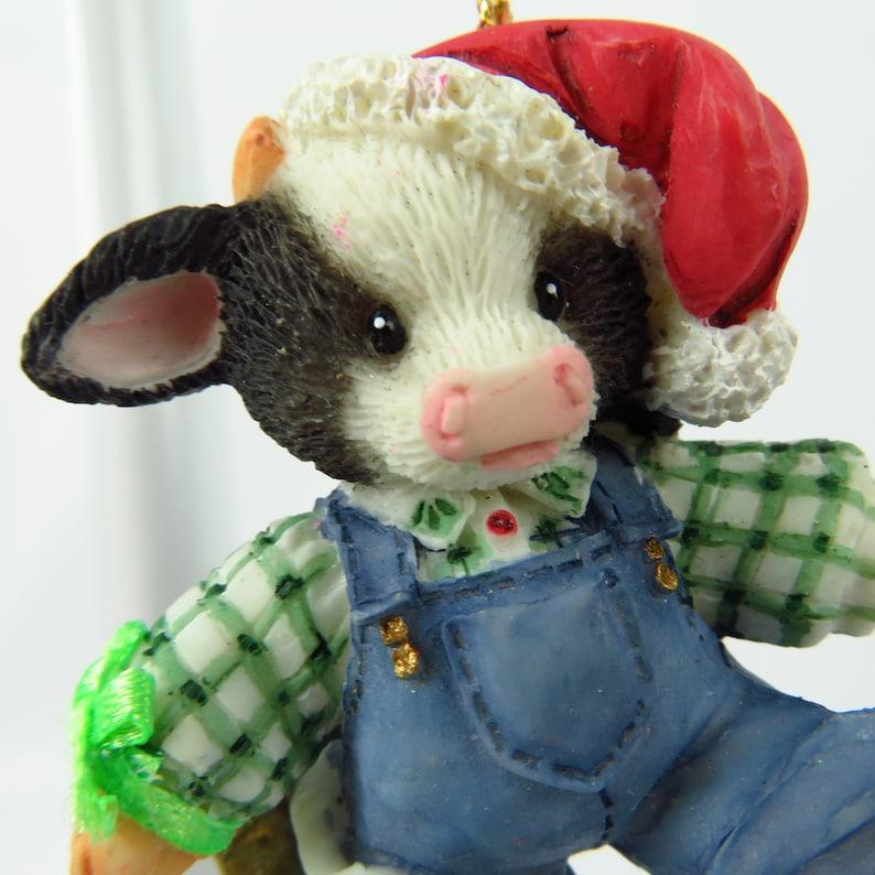 Cow Bull Santa Claus Ornament Vintage Boy Enesco Mary Moos Holstein Christmas Steer