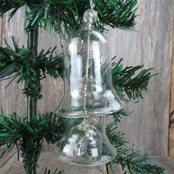 3-Tier Clear Glass Bell Christmas Ornament Made in Taiwan with Box Vintage