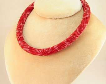 Red bead necklace jewelry thick charm choker bridesmaid large gift for mom bohemian wrap mothers day girlfriend best friend plain rope