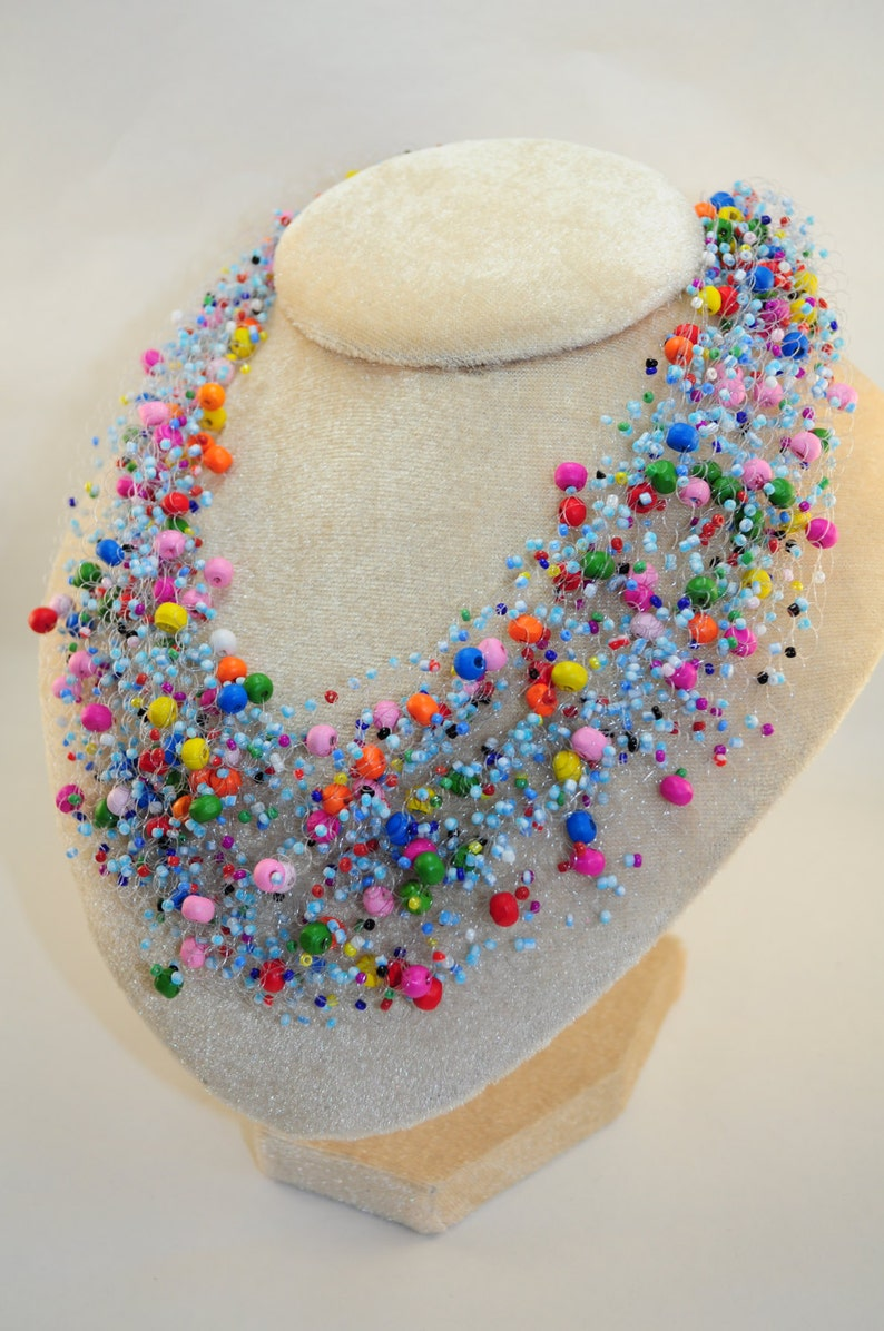 Multicolor beaded necklace jewelry handmade valentine gift for image 0