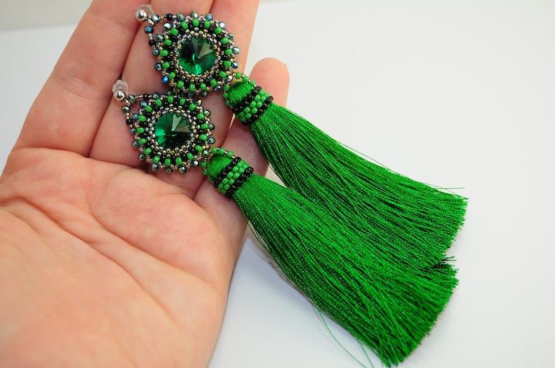 Boho earrings tassel earrings long earrings statement earrings green earrings oscars big earrings elegant earrings fashion earrings handmade