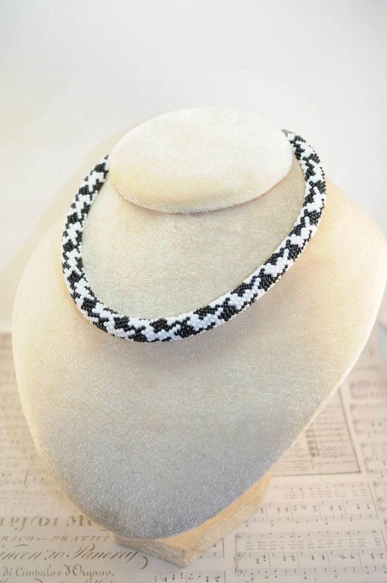 Necklace Bead Crochet Rope White and black Beaded Beadwork seed beads jewelry crocheted handmade statement gift for her bib with idea