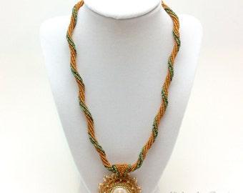 Tan Spiral Herringbone Necklace