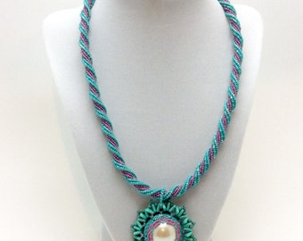 Turquoise Spiral Necklace with Pendant