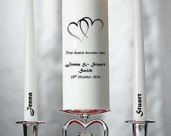 Personalised heart Wedding Civil Ceremony Unity Candle Set Gift Keepsake