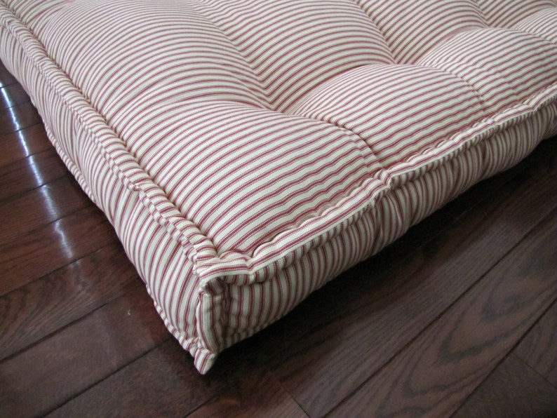 Custom Cushions, Red Ticking Stripe, French Mattress Quilting, Tufted  Daybed Mattress, Custom Window Seat, Bench Seat Cushion, Floor Pillow