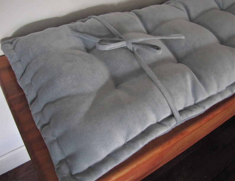 Bench Pad With Ties Banquette Pads Custom Bench Cushion Blue Velvet Seat Cushion French Mattress Cushion Tufted Cushions Custom Sizes