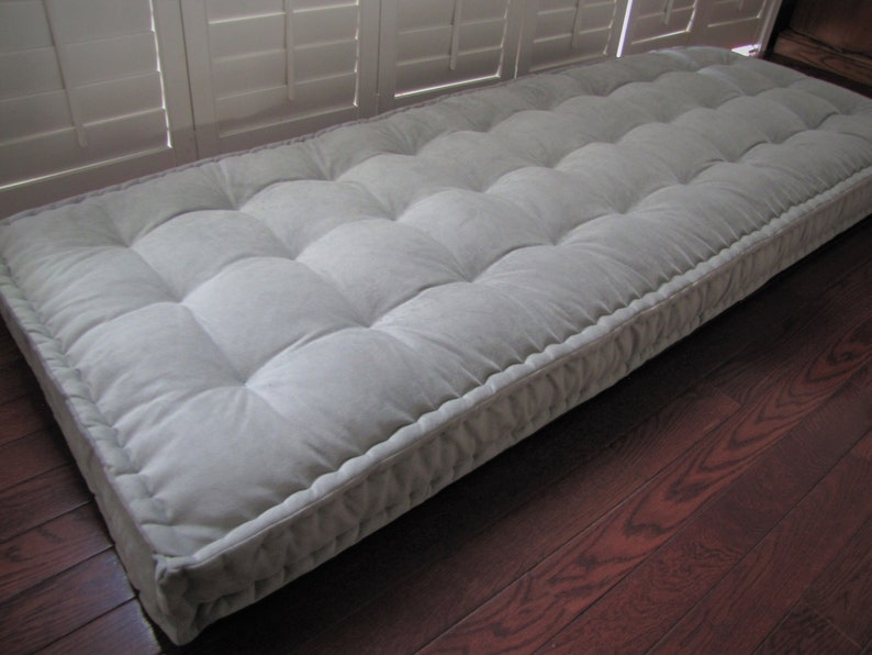 Custom Cushions Gray Velvet Cushion French Mattress Quilting Hand Tufted Daybed Mattress Window Seat Or Bench Seat Cushion Floor Pillow
