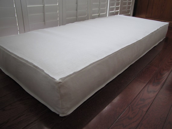 Wondrous Custom Cushions White Linen Flanged Slipcover With Butterfly Corners Window Seat Or Bench Seat Cushion Daybed Mattress Floor Pillow Cjindustries Chair Design For Home Cjindustriesco