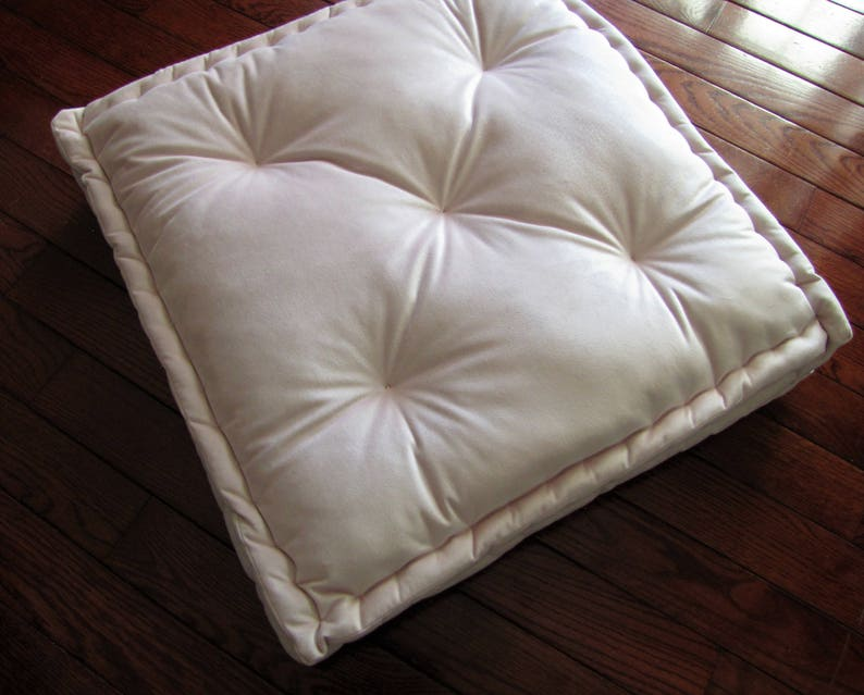 Velvet Floor Pillow Pale Pink Tufted Floor Cushion With French Mattress Quilting Stuffed 24x24x4 Floor Pouf Custom Floor Seating