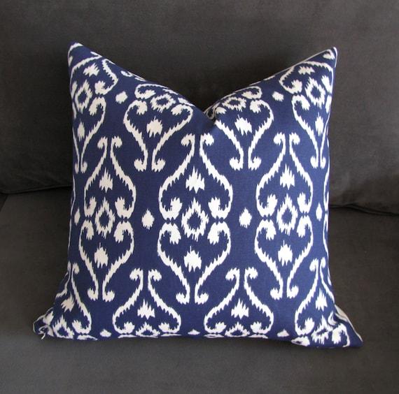navy blue throw pillow ikat sofa pillow damask print couch etsy rh etsy com Ikat Loveseat Anthropologie Sofa