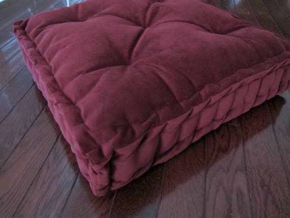 Velvet Floor Pillow Berry Tufted Floor Cushion with French