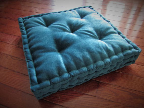 Velvet Floor Pillow Teal Blue Green Tufted Floor Cushion With French Mattress Quilting Stuffed 24x24x4 Floor Pouf Custom Floor Seating