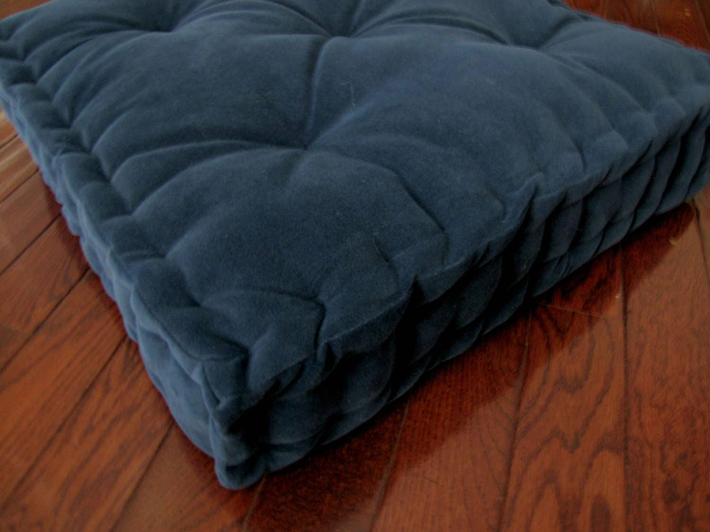 Velvet Floor Pillow Navy Blue Tufted Floor Cushion With French Mattress Quilting Stuffed 24x24x4 Floor Pouf Custom Floor Seating