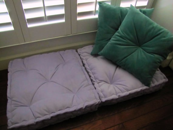 Velvet Floor Pillow Lilac Tufted Floor Cushion With French Mattress Quilting Stuffed 24x24x4 Purple Floor Pillow Custom Sizes Available