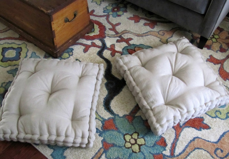 Linen Floor Pillow Tufted Floor Cushion With French