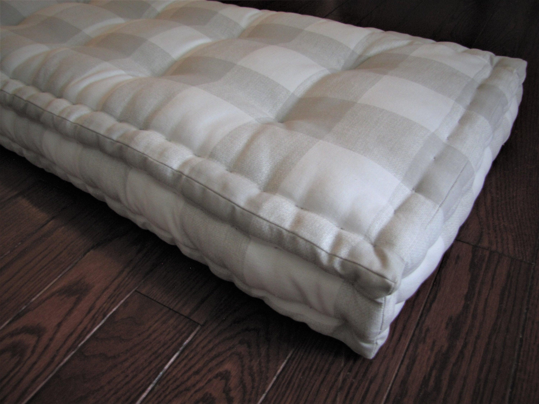 Plaid Bench Cushions Gray And White Buffalo Plaid Window Seat Cushions Custom Cushions French Mattress Cushion Tufted Chair Cushions
