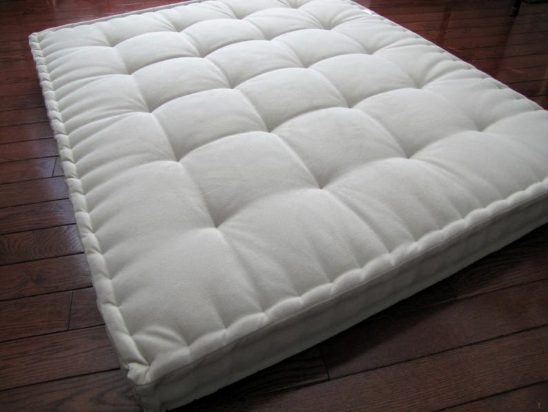 Beige Velvet Floor Pillow Reading Nook Cushion With French Mattress Quilting Supportive Foam Tufted Floor Cushion Oversized Floor Seating