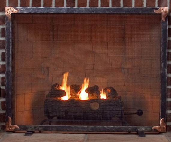 Ouray Hand Forged Fireplace Screen with Copper Corner Details