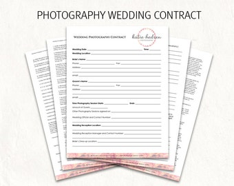 Wedding Contract   Wedding Photography Contract Template   Wedding  Photography Contract. Editable Photography Logo On First Page