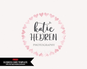 Watercolor logo - premade photography logo design - watermark logo design - DIY psd logo hand lettered script font included