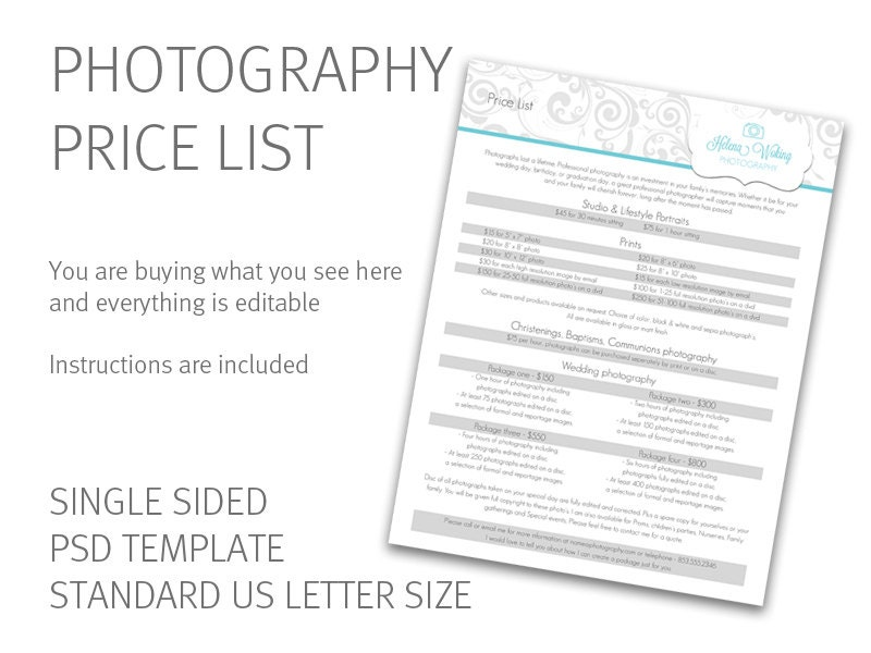 Photography Price List Template Price Guide Photography Etsy