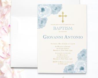 printable boy baptism invitation   Elegant Baptism Invitations   Christening Invites   Baptism Invite Boy   Boy Christening    Baptism C10B