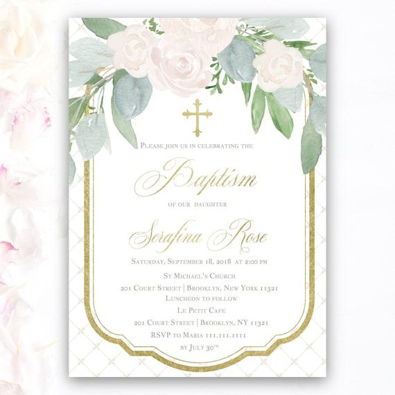 elegant baptism christening invitations for girls with floral