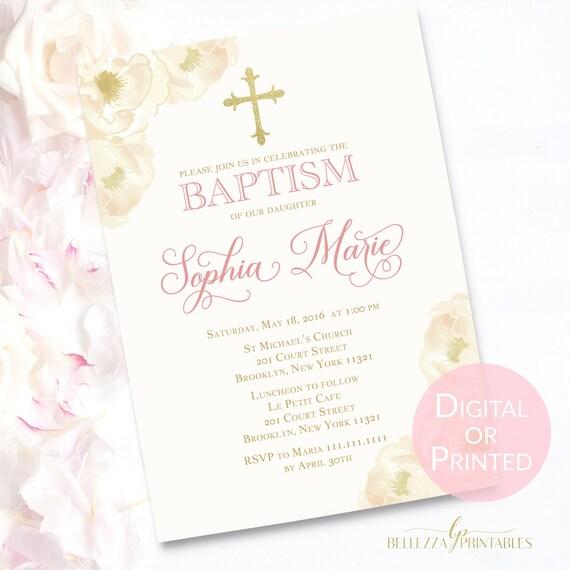 ivory gold baptism invitation elegant baptism invite etsy