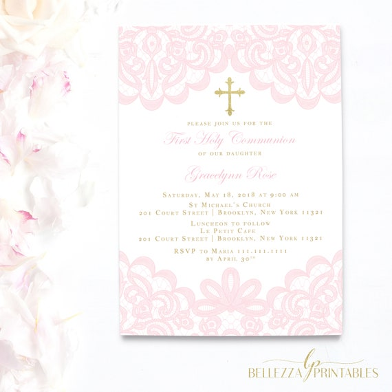 pink lace first communion invitation pale pink invitations girl